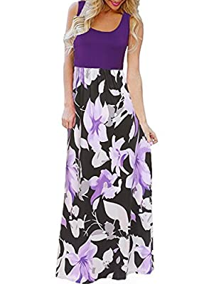 Fashion Design: Sleeveless Maxi Dress, Floral Boho Print, Flower Pattern, Patchwork Design, Scoop Neck, Empire Waist, High Waist, Floor Length, Full length, Flowy, Loose Fit Style, Soft and Comfortable. Style Fit: This Trendy Summer Long Sundress is ...