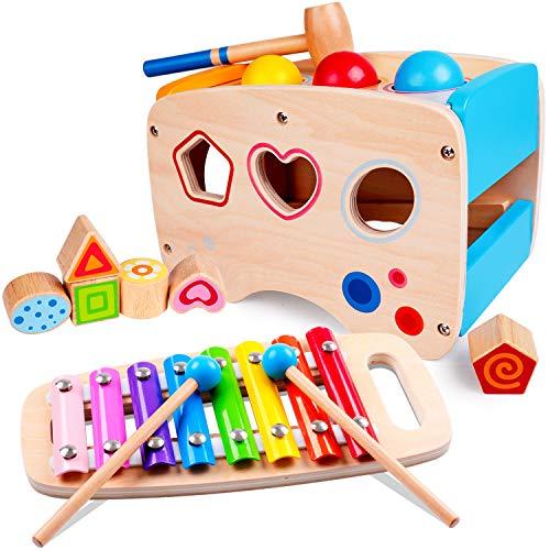 rolimate Hammering Pounding Toys Wooden Educational Toy Xylophone Shape Sorter, Birthday Gift for 1 2 3+ Years Boy Girl Baby Toddler Kids Developmental Montessori Learning Block Ball Toy Fine Motor