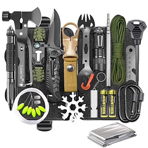 Gifts for Men Dad Husband, Survival Gear and Equipment Kit 30 in...