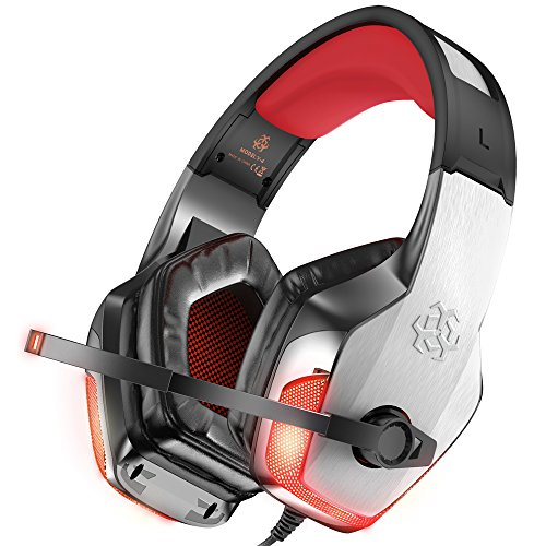 BENGOO V-4 Gaming Headset for Xbox One, PS4, PC, Controller, Noise Cancelling Over Ear Headphones Mic, LED Light Bass Surround Soft Memory Earmuffs for Computer Laptop Mac Nintendo Switch -Red