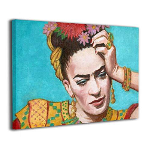 Pintura C Frida Kahlo Mexicana Folk Arte de Pared Póster Obras de Arte Pinturas en Lienzo sin Marco Listo para Colgar para decoración del hogar 20 x 16 Pulgadas, Madera, Blanco, Talla única