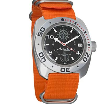 Vostok Amphibian Automatic Mens Wristwatch Self-Winding Military Diver Amphibia Case Wrist Watch #526 (Orange: 710526)