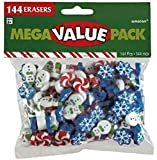 Package includes: 144 Christmas themed assorted design erasers Features snowflakes, snowmen and peppermint candies Perfect for holiday activity, giveaway or gift Made of high quality and non-toxic rubber that can easily erase pencil mark