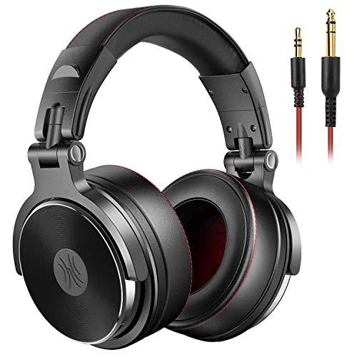 OneOdio Cuffie DJ, Cuffie Studio, Cuffie Over-Ear con microfono, Cuffie chiuse senza adattatore da 6.3 mm e 3.5 mm, Custodia ruotabile a 90  e Unit driver 50mm / Protezioni in pelle con protezioni