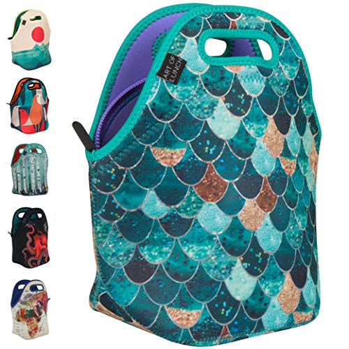 ARTOVIDA Insulated Neoprene Lunch Bag for Women, Men and Kids - Artist Monika Strigel (Germany) and Artovida Have Partnered to Donate $.40 per Sale to Pacific Whale Foundation - Really Mermaid
