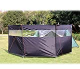 Hikeman Camping Windbreaks Stove Windscreen – Beach Windshield Shelter, Sunshade Screen,Winter Outdoor Caravan Privacy Shield with Top Window, for Garden Charcoal Grills BBQ Picnic (Black)