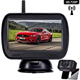 Amtifo HD 720P Digital Wireless Backup Camera System with 4.3'' Monitor for Pickups,Trucks,Cars,Campers,Adjustable Rear/Front View,Guide Lines On/Off,IP69 Waterproof