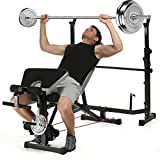 ncient Olympic Weight Bench Multi-Function Adjustable Weight Bench with Preacher Curl, Leg Developer for Indoor Exercise (Dark Black)