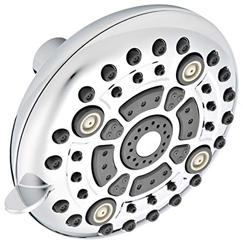 5 High Pressure  6 Function Shower head w/Removable Flow Restrictor for Low Flow Showers  Sturdy Brass Connector, ABS Body and Silicon Nozzles Resist Hard Water Deposits - Chrome