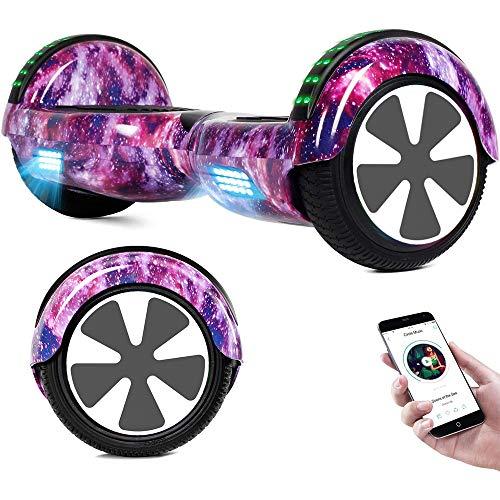 RangerBoard Hoverboard Enfant - 6,5' - Bluetooth - LED - Self Balancing Board Adulte - 700W - Smart Scooter Deux Roues - Skate Électrique Cadeaux Pas Cher - Certifié CE UL2272 - Violet Ciel Étoilé