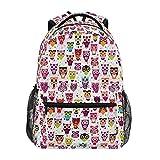 Mochila escolar ADMustwin con diseño de búhos de lunares, mochila de viaje, ligera, impermeable, mochila para ordenador portátil, mochila primaria gra...