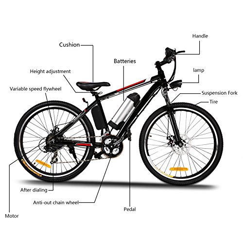 Product Image 2: Kemanner 26 inch Electric Mountain Bike 21 Speed 36V 8A Lithium Battery Electric Bicycle for Adult (Black) (Black)