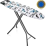 Bartnelli Ironing Board Made in Europe   Iron Board with 3 Layer Cover Pad, Height Adjustable, Safety Iron Rest, 4 Leg, Home Laundry Room or Dorm Use (44 x 14 H.36) (Black / Blue)