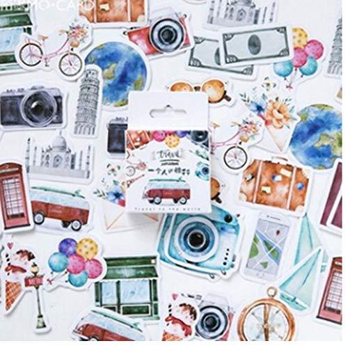 TOSSPER 46 Pcs Nouveau Voyage Autocollant Bricolage Rétro Stickers Voyage...