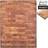 Daddy Chef End Grain Wood cutting board - Wood Chopping block - Large cutting board 16 x 12 Kitchen butcher block cutting board with feet - Kitchen Wooden chopping board