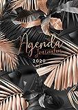 Agenda 2020: 12 mois journalier 2020 - format A5 - janvier à décembre 2020 - planificateur, semainier simple & graphique, motif Feuille de Palmier Tropical or rose et noir