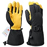 Snowmobile Gloves Cold Proof Snow Winter Leather Glove 3M Thinsulate Insulation Thermal Cotton Thick Cowhide - Waterproof Windproof Insulated for Men and Women Yellow XX-Large