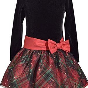 Bonnie-Jean-Girls-Long-Sleeve-Christmas-Santa-Dress-Black-Velvet-Plaid
