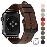 HUAFIY Compatible for Apple Watch Band 42mm 44mm Man Top Grain Leather Band Replacement Strap iWatch Series 5/4/ 3/2/ 1,Sport, Edition. New Retro discoloured Leather (Coffee+Black Buckle, 42mm 44mm)