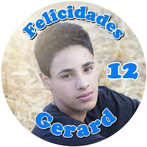 OBLEA con Foto, Personalizada Nombre y Edad para Pastel o Tarta, Especial para cumpleaños, Medida Redonda de 20cm de diámetro