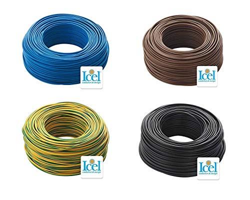Cavo Icel Elettrico Unipolare Isolante FS17 Matassa per impianti casa aziende edili 4 Matasse da 100 metri 400 metri totale Colore Blu-Nero-Marrone-Giallo/Verde (1,5 mm)