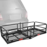XCAR Hitch Mount Cargo Carrier Rack High Side 59' x 24' x 14' Folding Cargo Rack Rear Luggage Basket Fits 2' Receiver for Car SUV Camping Traveling
