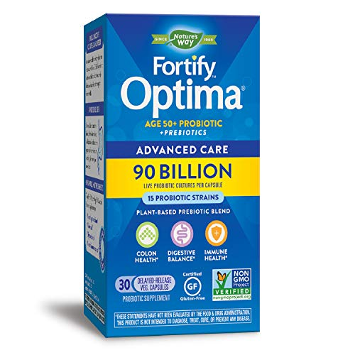 Natures Way Fortify Optima Age 50+ Probiotic + Prebiotic, 90 Billion Live Cultures, 15 Strains, Non-GMO Project Verified , Refrigeration Required, 30 Vegetarian Capsules