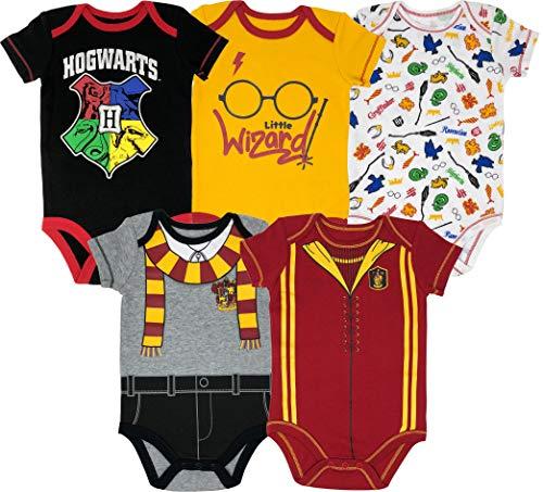 Harry Potter Body de Manga Corta - Hogwarts y Gryffindor - Disfraz Friki Divertido para Bebé Niño y Niña (Pack de 5), Multicolor 18 Meses