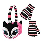 PEAK 2 PEAK Boys and Girls Animal Winter Earmuff and Cut Finger Gloves with Cover Set, Age 4-7 (Cat Earmuff)