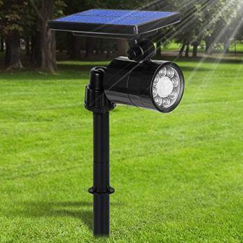 Lampe Solaire Extérieur Ultra Puissante avec Détecteur de Mouvement,Spot Solaire 8 LED 800 Lumens,IP65 Etanche,4 Modes Eclairage Exterieur Sans Fil 360° Reglable Lumière Solaire pour Jardin,Chemin