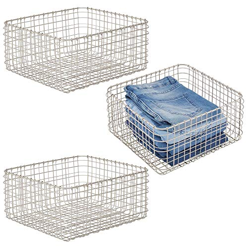 mDesign Farmhouse Decor Metal Wire Storage Basket Bin for Storage & Organizing Closets, Shelves, and Cabinets in...
