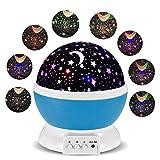 Lámparas Infantiles Lámpara de Proyector Estrella Luces navidad 360 Grados de rotación LED Romántica Lámpara de Noche para niños, Bebés, Regalos de navidad, Dormitorio, Decoración casa (Azul)