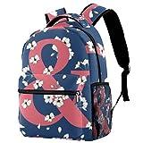 Mochila y símbolo de flores para la escuela, mochila de viaje, informal, para mujeres, adolescentes, niñas y niños