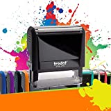 Trodat Printy 4915 - Tampon Encreur Professionnel 6 Lignes À Personnaliser - Empreinte 70 x 25 mm Offerte - 10 Couleurs Disponibles (Noir)