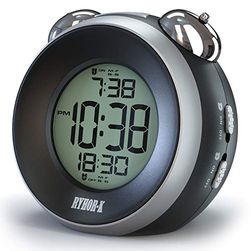 RYHOR-K Loud Alarm Clock for Heavy Sleepers  Simple Annoying Twin Bell for Hearing Impaired  Dual Battery Operated Snooze Portable Travel Digital for Kids