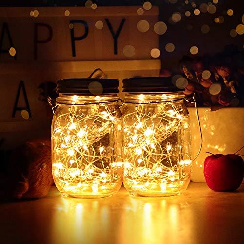 Solarlampen Außen 2er | led solar licht Einmachglas | infinitoo Solarglas 2M 40er led Kupferdraht leuchten Außen Garten Laterne Solarleucht Wasserdichte Garten Hängeleuchten (2 Einmachglaeser)