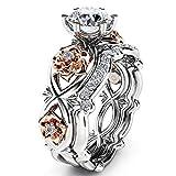 Bookear Women Silver & Rose Gold Filed White Wedding Engagement Floral Ring Set (8)
