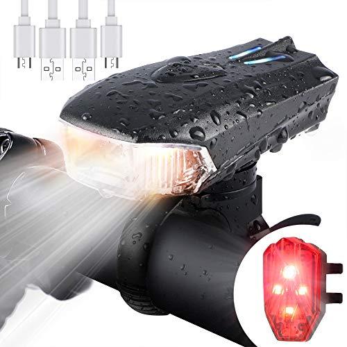 WOSTOO Luci Bicicletta LED, Luci per Bicicletta USB con 5 modalit Luce, Batteria al Litio 1200 mAh LED di Lumen Impermeabile con Il Faro Posteriore per Bici Strada e Montagna- Sicurezza per Notte