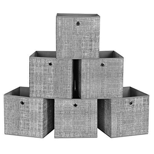 SONGMICS Set di 6 Scatole Portaoggetti a Cubo, Contenitori Pieghevoli in Tessuto Non Tessuto, Organizzatori di Giocattoli, Vestiti, Grigio Melange RFB02LG-3