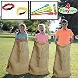 JOYIN 4 Players Outdoor Lawn Games; Potato Sack Race Bags, Egg and Spoon Race Games, Legged Relay Race Bands Elastic Tie Rope for All Ages Kids and Family, Outside Easter Eggs Hunt Game Party Favor