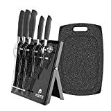 MOSTA Ceramic Coated Knife Block Set with 16Pc or 5Pc Kitchen Knives, Chef Knife,Bread Knife,Steak Knife,Chopper Knife,Butter Knives,Cheese Knife,Pizza Knife,Acrylic Stand,Scissors