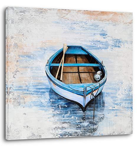 YHSKY ARTS Coastal Canvas Wall Decor Hand Painted Light Blue...
