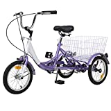 H&Z Tricycle 1-Speed Trike Cruiser Bike 3 Wheeled Bicycle w/Large Basket and Maintenance Tools, Teenagers' Cruiser Bicycles (Purple, 1 Speed, 14')