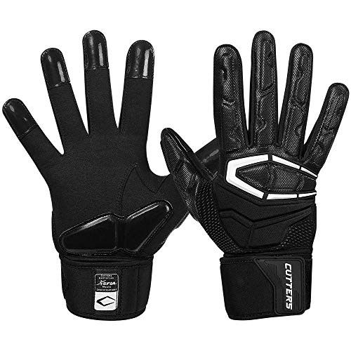 Cutters Lineman Padded Football Glove. Force 3.0 Extreme Grip Football Glove, Flexible Padded Palms & Back of Hand, Adult, 1 Pair