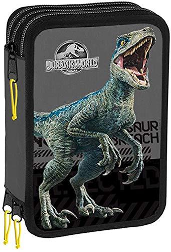 Jurassic World Astuccio Scuola 3 Zip Completo Di Cancelleria Licenza Ufficiale