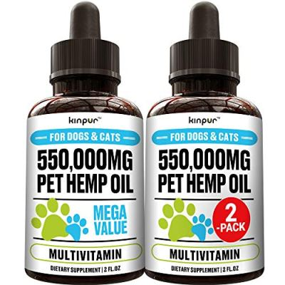 (2-Pack) Natural Hemp Oil for Dogs and Cats – Dog Calming Aid for Stress and Anxiety – Hip and Joint Health, Mobility…