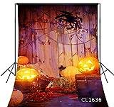 5X7FT Vinyl Photography Backdrop Autumn Halloween Theme Barn Rustic Wooden Board Horror Spider Halloween Pumpkin Light Party Banner Backdrops Photo Background Studio Props
