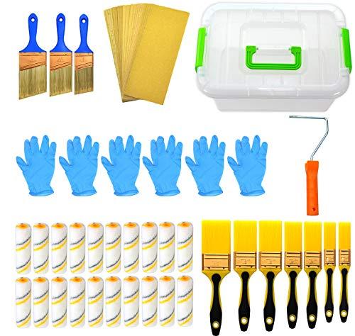 50 Piece Painters Multi use,Home Tool kit,Mini Paint Roller Covers,Paint Roller,Paint Brush,Paint Roller Frame,Home Repair Tools,Tool kit,Tool case,Home Tool kit,Tool Storage,Tool Box