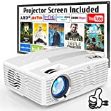 [Native 1080P Projector] DR. J Professional 6800Lumens LCD Projector Full HD Projector Max 300' Display, Compatible with TV Stick, HDMI, AV, VGA, PS4, Smartphone for Home Theater, Presentations