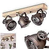 Plafonnier Herford en bois, verre & métal brun/noir, 3 spots de plafond retro-industriels pivotants, luminaire idéal dans un salon vintage, pour 3 ampoule GU10 max. 50 Watt, compatible ampoules LED